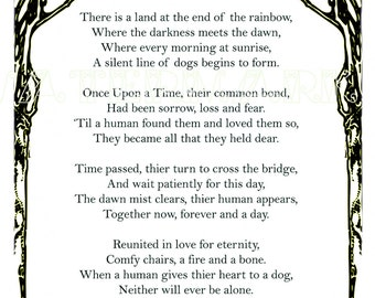 Original poem to remember a dog who crossed the rainbow bridge before us. A special gift for the bereved. A4 download jpg