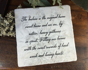 Home sweet home housewarming gift.   Beehive quote.