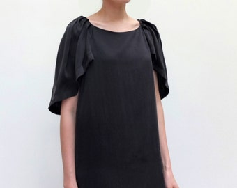 Silk formal lbd ruched shoulder puff capelet sleeves structural shift dress