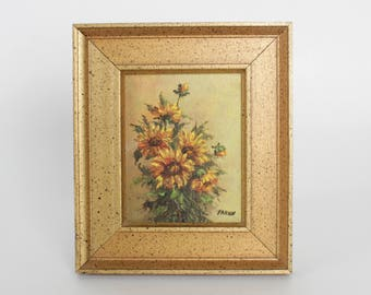 Vintage Still Life Oil Painting of Sunflowers by Frances Torricelli Farish