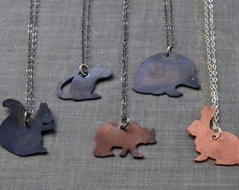 Copper Animal Charm Necklace- squirrel, mouse, grizzly bear, hedgehog or rabbit- spirit animal totem, animal necklace, animal lover gift