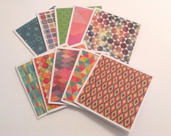 Mini cards, geometric gift cards, patterned greeting cards, thank you cards, note cards, any occasion, set of 10