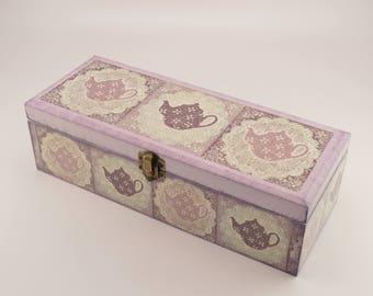 Decoupage tea box, wooden box, tea box, kettle decoration, decoupage box, wooden tea box, shabby chic box, home decoration, kettle tea box
