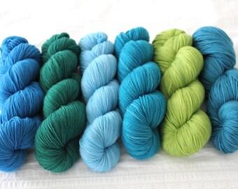Custom Length Multicolored Pack BETA - Dissertation, Hand Dyed Superwash Merino Sock Yarn