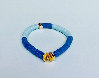 Turquoise Blue Vinyl Gold Wavy Disc Stretch Bracelet