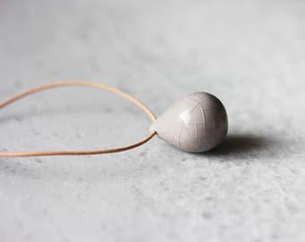 Handmade ceramic tear drop necklaces grey