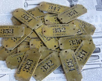 Only 1 Vintage Brass Tag Copper Range Company Michigan Copper Mine Mining Metal Number Tag Industrial Antique Tag Keychain Jewelry Pendant