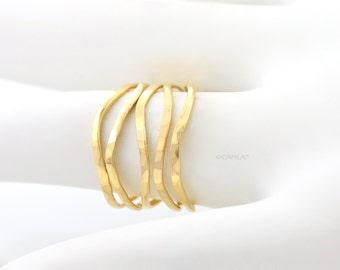 Gold Wavy Stackable Rings