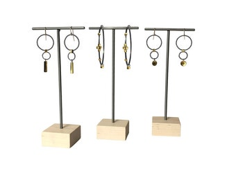 Earring stand - Metal and Wood Jewelry Display for Craft Show Display or Retail Display