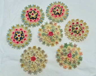 Vintage 1930s Japan celluloid flower brooches