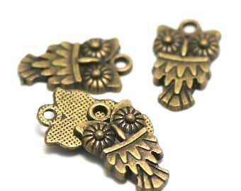 "20 charms ""dazzled OWL eyes"", 18 x 11 mm, bronze"
