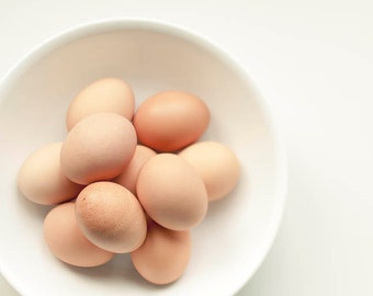 Photo of Brown Eggs, Food Photography, Beige White, Rustic Kitchen Decor, Neutral, Art for Kitchen Print