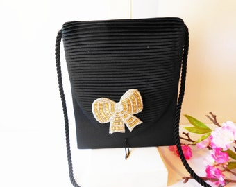 Black Evening Bag, Glamorous Handbag,  Gold Bead Trim, Beaded Bow,Black Clutch Bag, Sparkly Purse, Evening Purse EB-0728