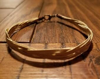 Braided Guitar String Bracelet Gold tone