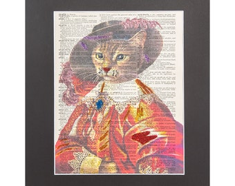 Vintage Dictionary Page Art Print | Musketeer Cat Graphic Art Manipulation with Sparks of Glitter 11''X14'' Mat