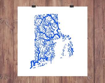 Rhode Island Map - High Res Map of Rhode Island Rivers / Rhode Island Print / Rhode Island Art / Rhode Island Decor / Rhode Island Gift