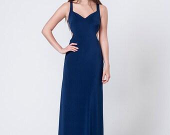 Navy Blue Dress, Open Back Dress, Navy Blue Bridesmaid Dress, Long Prom Dress, Maxi Long Dress, Prom Dress, Evening Dress, CUSTOM MADE