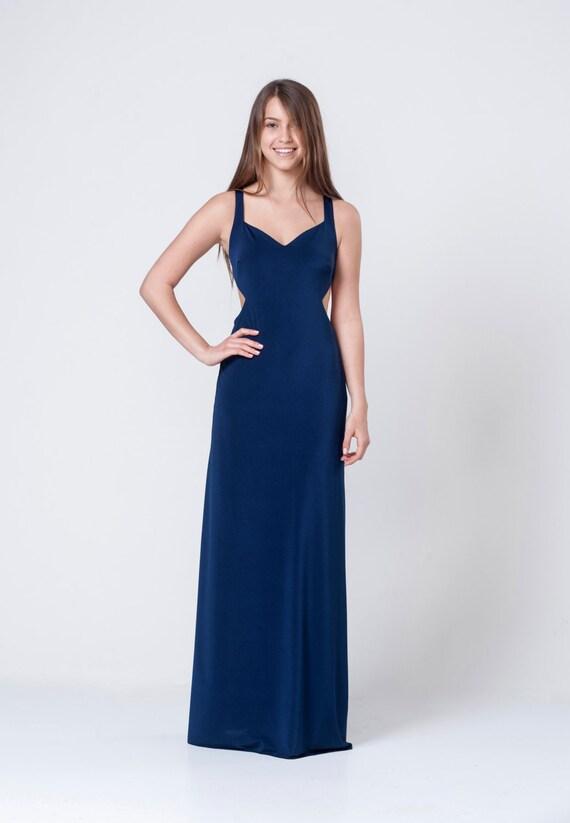 Navy Blue Dress Open Back Dress Navy Blue Bridesmaid Dress