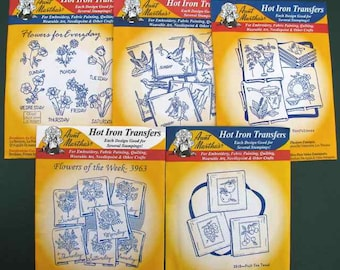 5 Aunt Martha's Hot Iron Transfers Towel Designs Days of Week Most are New, Sealed