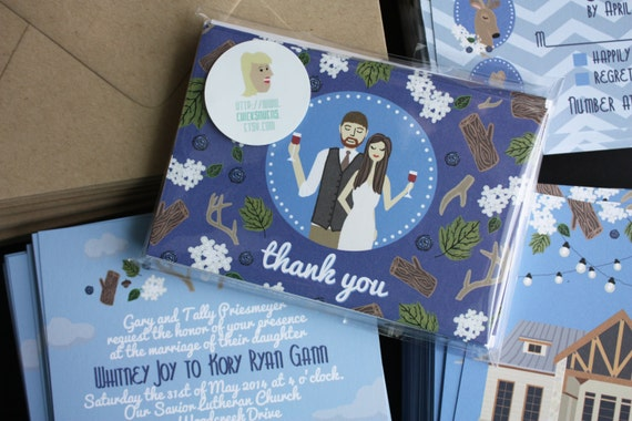 Wedding Invitation Thank You Letter: Thank You Note : Custom Illustrated Wedding Invitations