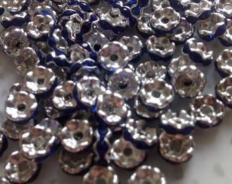 Set of 20 6 mm teal rhinestone rondelles