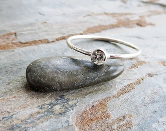 3mm Tiny Moissanite Ring - Sterling Silver Solitaire Ring in Shiny or Matte Finish - Ethical Diamond Alternative, Charles and Colvard Stone