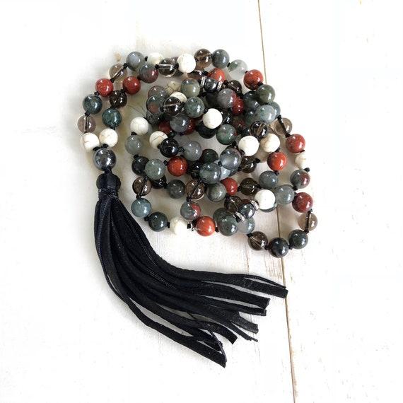ROOT CHAKRA MALA - Bloodstone Mala Beads - Mala Necklace With Red Jasper, Smokey Quartz, Howlite and Hematite - 108 Beads Mala - Yoga Beads