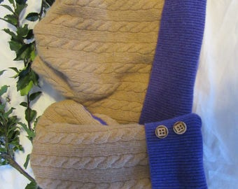 Recycled Cashmere Sweater Hat and Mittens Set