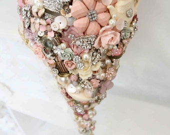 Cascading Whimsical alternative bouquet brides Vintage and retro brooch bouquet rhinestone button floral flower wedding posy bouquet