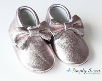Ice Pink Bow Moccasins