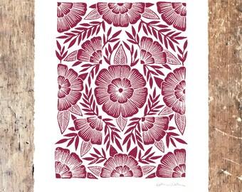 Katharine Watson Linocut Art Print - Block Printed Wall Art