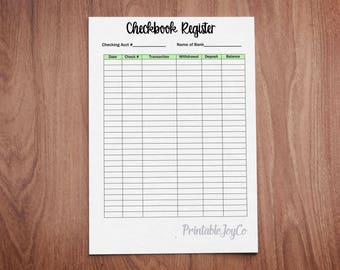 Printable Check Register Pdf