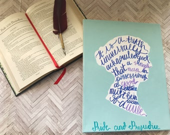 A Truth Universally Acknowledged Canvas; Pride and Prejudice Sign; Pride and Prejudice Silhouette; Hand Lettering Sign; Jane Austen Sign