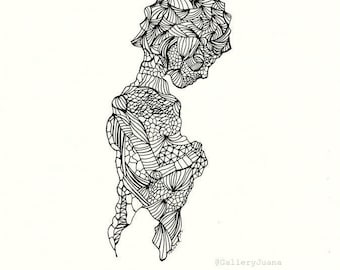 figure, black white, line drawing, 8 x 10, Pieces III