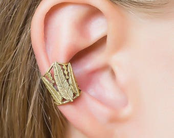 Gold Earcuff. Ear Cuff Earring. Feather Earrings. Ear Wrap. Ear Cuff No Piercing.