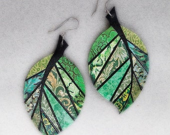 Paper Mosaic Leaf Earrings - Large Leaf Earrings - Upcycled Earrings - Any Color Choice - MADE-TO-ORDER