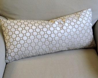 PEARL ivory Raised Velvet geometric decorative designer throw pillow 13x26