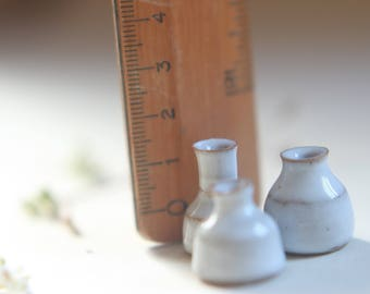 Very tiny vases. Set of 3 thrown stoneware flower vases set of pottery china set Doll furniture, ceramics and pottery UK seller