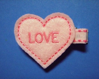 Valentine Felt Hair Clip Clippie - Love Heart  - For Infant Toddler Girl