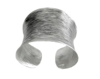 "Sterling Silver Wide Boho Statement Cuff Bracelet, Handmade Ethnic Gypsy Tribal Silver cuff with Oxidized Dark Lines ""Scratches"" pattern"