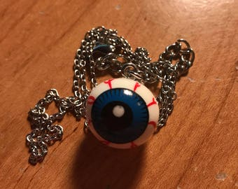 Silver Accented Eyeball Dangle Necklace