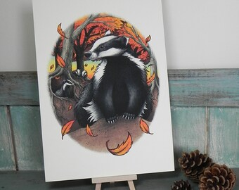 Badgers At Fall Illustration ~ A4 Print on 270gsm Card available in 3 Colours