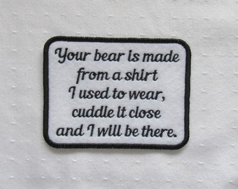 Your Bear is made from shirt I used to wear- Black Red Blue Pink Purple Green Orange Text Color- SEW ON Memory Patch -Custom Wording Welcome