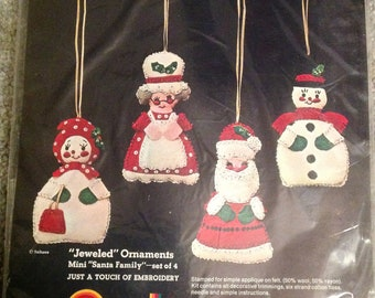 Vintage--Sultana--Jeweled Christmas Ornaments Kit--Mini Santa Family--Set Of 4--Sealed Kit