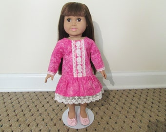18 Inch Pink long sleeve doll dress with lace