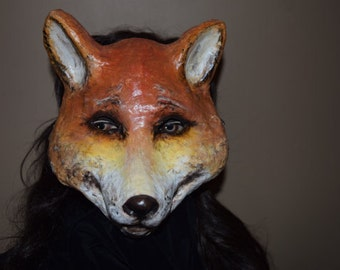 Paper mache Fox mask, Fox mask, Fox costume, Halloween mask, Masquerade mask, Animal mask, Fox head