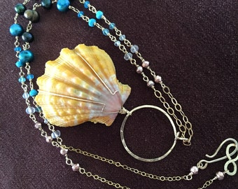 """Rare Hawaiian Sunrise Shell, dyed Pearl & Gemstone 14kt Gold-filled 21"""" long  Handmade Necklace, One of a Kind"""