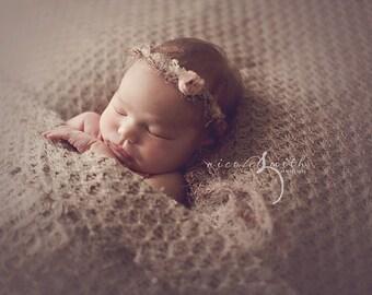 NEWBORN FLOWER CROWN {Eliza} Newborn Photo Prop, Floral Crown, Newborn Headband, Newborn Tieback, Newborn Halo, Newborn Photography Props