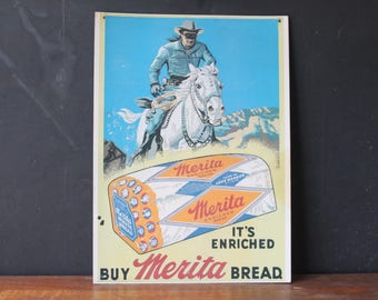 Vintage Merita Bread Advertisement with Lone Ranger, Paper Advertisement, Vintage Store Sign
