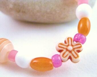 Pink and Orange Flower Bracelet, Medium Girls Bracelet, GBM 105